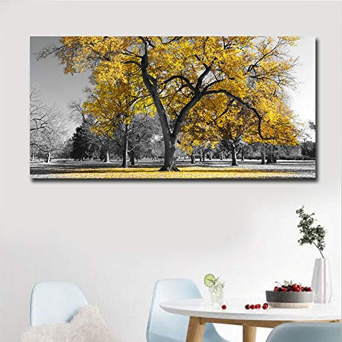 XIANGPEIFBH Poster Canvas Printing,Printed Giclee Canvas Prints,Modern Yellow Tree 1 Piece Big Size Canvas Art,Canvas Painting 60x120cm Unframed