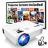 DR.Q HI-04 Projector with Projection Screen 1080P Full HD Supported, Upgraded 6000 Lumen Video Projector Compatible with TV Stick PS4 HDMI USB AV for Home Cinema & Outdoor Movie, White.