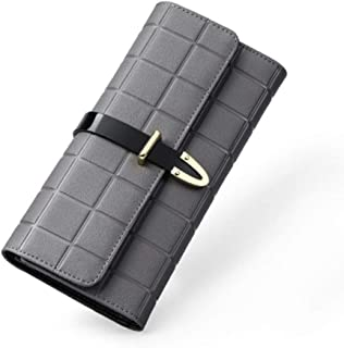 Pusaman Women's Fashion Leather Wallets, Ladies Handbags, Evening Bags (Color : Gray, Size : 19 * 10 * 2CM)