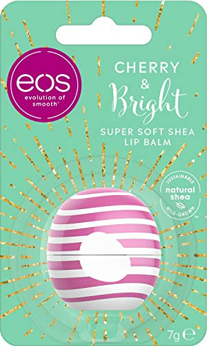eos Winter Edition Cherry & Bright Lip Balm, Lippenpflege, pflegender Lippenstift mit Kirsch Geschmack, für weiche Lippen, Geschenkidee zu Weihnachten