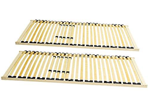 Coemo 2 x Lattenrost XXL 90x200 cm extra stabil für Schwergewichtige im Partnerset