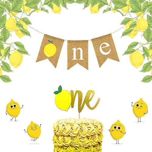 LaVenty 2 PCS Lemon One Banner Lemon One Cake Topper Lemonade 1st Birthday Decoration for Summer 1st Birthday Party Decor Lemonade Party