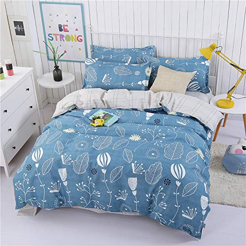 CYGJ CYGJHypoallergenic cotton comfortable three-piece or four-piece beddingBlue-leaf1.5m four-piece set
