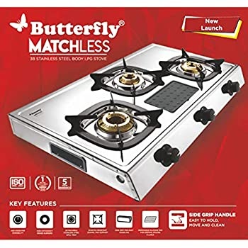 Butterfly Matchless Stainless Steel 3 Burner LPG Gas Stove - Silver