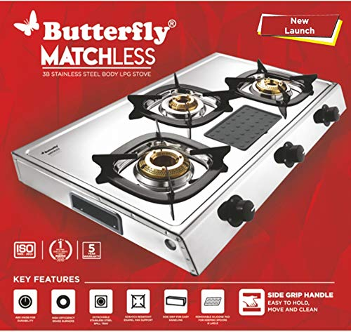 Butterfly Matchless Stainless Steel 3 Burner LPG Gas...