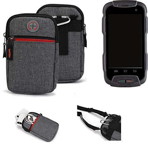 K-S-Trade® Gürtel-Tasche Für Cyrus CS 23 Handy-Tasche Schutz-hülle Grau Zusatzfächer 1x