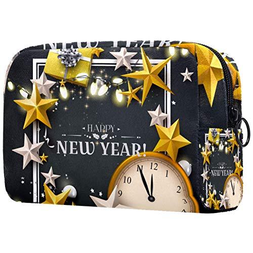 KAMEARI Bolsa de cosméticos de Navidad de oro blanco estrellas caja reloj Patten grande cosmética bolsa organizador multifuncional bolsas de viaje