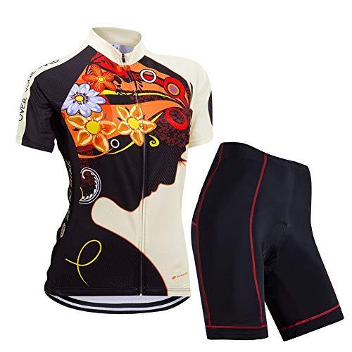 ZEROBIKE Donne Manica Corta Jersey Abbigliamento Set, Ciclismo Magliette Corta Jersey Camicia + 3D Gel Imbottito Pantaloncini Ciclismo Equitazione Bike Sportswear, M
