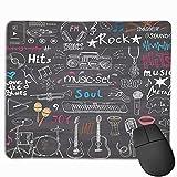 Gaming-Mauspad, Premium-strukturierte Mauspad-Pads, niedliches Mousepad für Spieler, Büro- und Heimmusikartikel Gekritzel-Skizze mit Notizen Instrumente Mikrofon Gitarre Kopfhörer Schlagzeug Spieler u