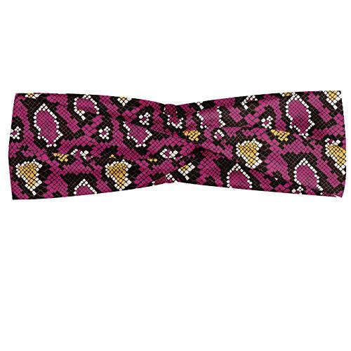 ABAKUHAUS slangenprint Hoofdband, Wild Animal Art, Elastische en Zachte Bandana voor Dames, voor Sport en Dagelijks Gebruik, Mosterd Dark Magenta