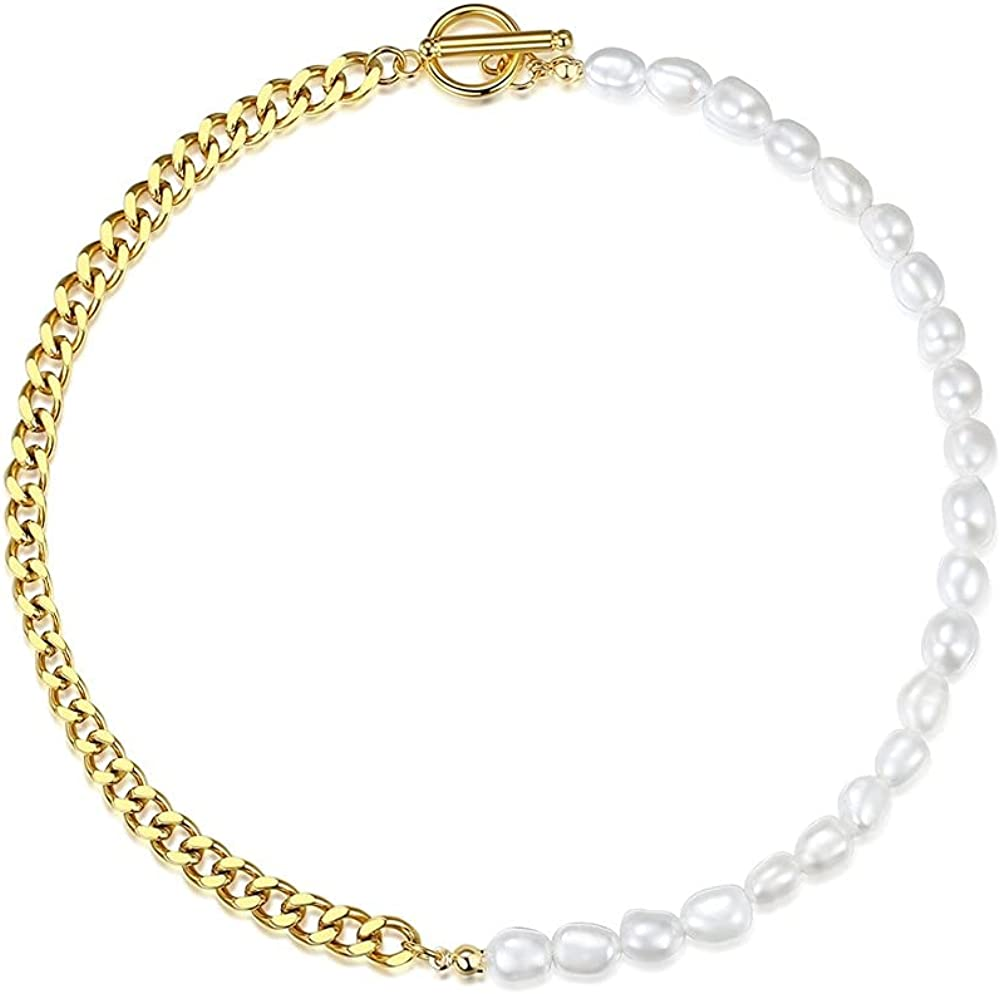 Pearl Chain Necklace 18k Gold Trendy Freshwater Pearl Necklace Cuban Link Necklace Half Pearl Half Chain Necklace for Women