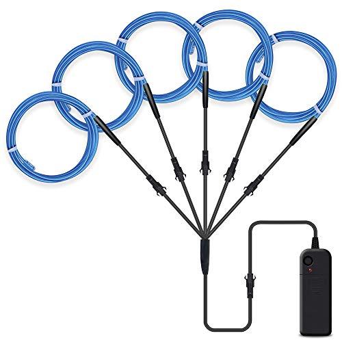 SZILBZ 5 x 1m EL Draht Lichtschlauch Leuchtschnur El Kabel Wire für Partybeleuchtung Weihnachtsfeiern Disco Party Kinder Halloween Kostüm Kleidung Blau