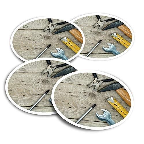 Pegatinas de vinilo (juego de 2) 10 cm – Herramientas llave martillo manitas divertidas calcomanías para ordenadores portátiles, tabletas, equipaje, reserva de chatarra, frigoríficos #16454
