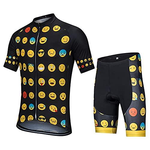 ZPTTBD Conjunto Ropa de Ciclismo Hombres,Traje Ciclismo Maillot de Manga Corta y Culotte Pantalones Cortos Bicicleta con 5D Gel Acolchado,Verano Traje de Bicicleta para MTB Ciclista Bici