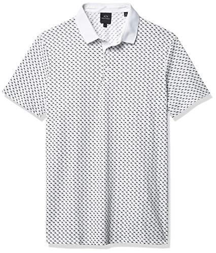 Armani Exchange AX Herren Slim Fit Print Short Sleeve Jersey Polo Shirt Poloshirt, Weißes Segel, Klein