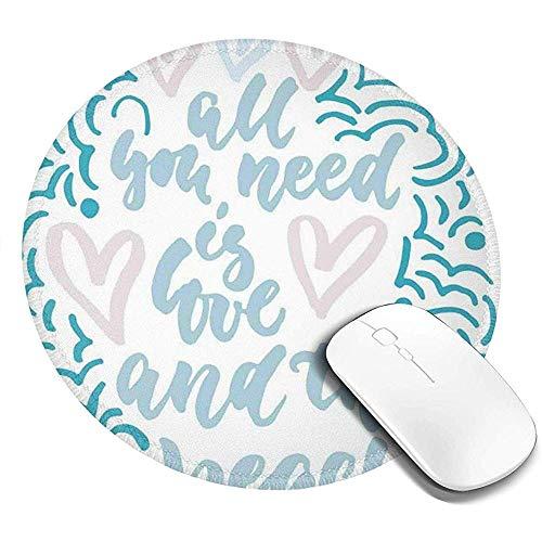 Ronde muismat, alles wat je nodig hebt is liefde en het strand boodschap met golvende lijnen patroon, antislip Gaming Mouse Mat