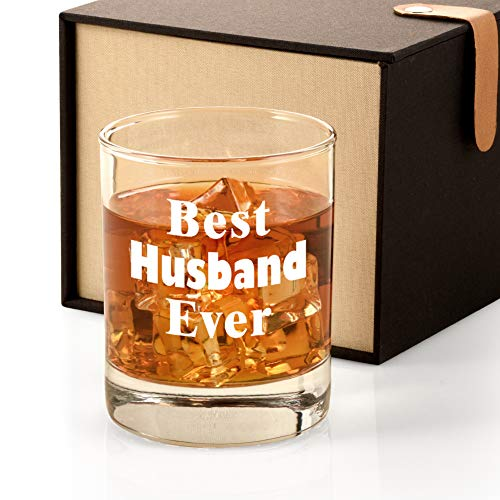 Anniversary Wedding Gifts for Husband from Wife, Best Husband Ever Whiskey Glass Funny Men's Birthday Gifts for Him, Christmas Valentines Father's Day Present Idea for Husband Hubby Lover