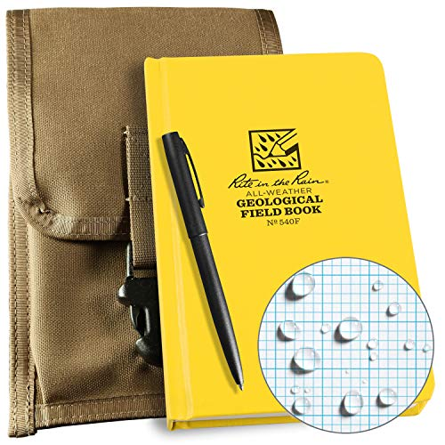 Rite in the Rain Weatherproof Geological Kit: Tan CORDURA Fabric Pouch Cover, Geological Hard Cover Notebook, and an Weatherproof Pen (No. 540F-KIT)