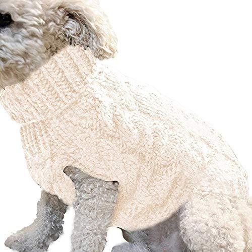Calculatrice Jersey blanco cálido para mascotas, ropa para perros pequeños y medianos de punto, ropa para perros de menos de 4 kg (M)