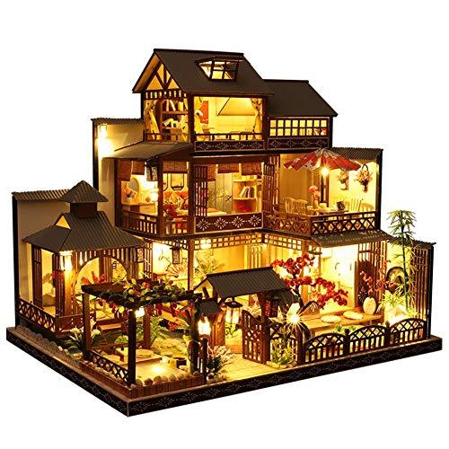 seraphicar Kit De Casa De Muñecas DIY, Cabaña De Madera En Miniatura...
