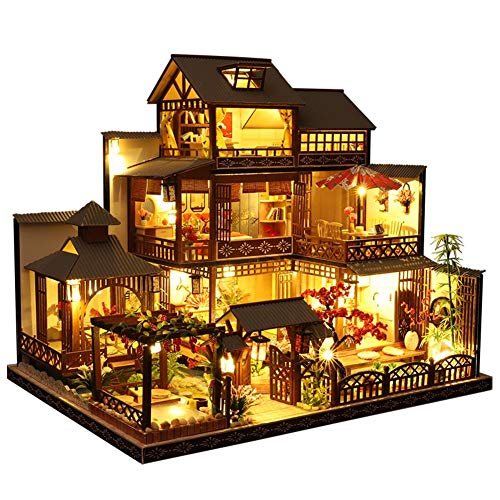 Exuberanter Casa de muñecas DIY en miniatura de madera en 3D, gran villa en miniatura, casa con música, para Navidad, cumpleaños, 35,2 x 26,5 x 30 cm
