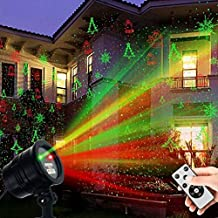 Christmas Laser Lights, Projector Lights Led Landscape Spotlight Red and Green Star Show with Rf Wireless Remote Christmas Decorative for Outdoor Garden Patio Wall Xmas Holiday Party