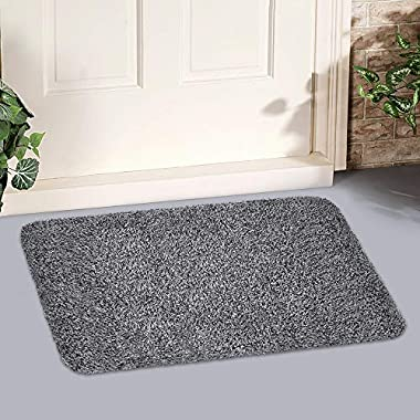 Indoor Super Absorbs Mud Doormat PVC Backing Non Slip Door Mat for Small Front Door Inside Floor Dirt Trapper Mats Cotton Entrance Rug 18 x 28  Shoes Scraper Machine Washable Carpet Black White Fiber
