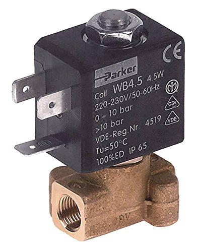 LUCIFER-PARKER Válvula magnética para cafetera Wega-CMA Gemini, Starlet, Conti TwinStar2 de latón, 230 V, entrada de 2 vías de 1/8