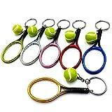 Sonline 6 PièCes Raquette de Tennis Balle Porte-CléS Pendentif Sac Accessoires pour Sac Sport Publicité Fans Souvenirs Porte-CléS