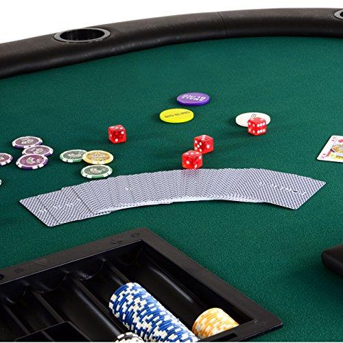 Nexos Pokertisch massiv Casinotisch aus Holz für Poker mit grünem Filzbezug Armlehnen eingelassener Chiptray für 10 Spieler - 7