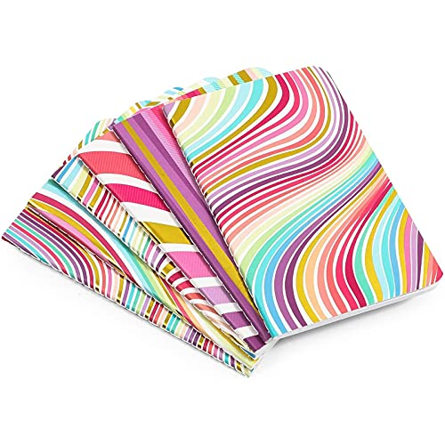 Cuaderno de diario Rainbow Swirl Dot, 32 hojas (3.5 x 5.5 pulgadas, 6 unidades)