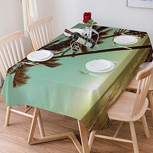 Tablecloth Rectangle Cotton Linen,Palm Tree Decor,Sunset Tropical Beach Dusk on Pacific Ocean Vintage,Waterproof Stain-Resistant Tablecloths Washable Table Cover for Kitchen Dinning Party (140x200 cm)