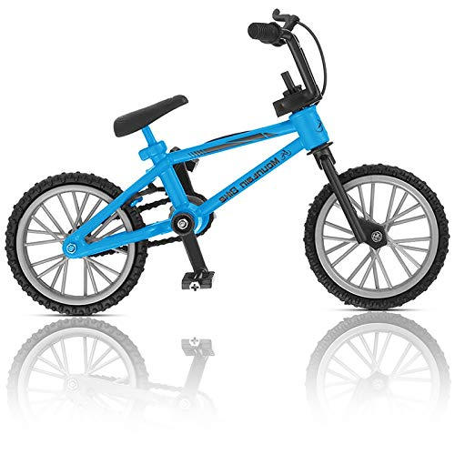 BMX Finger Bike Series 12,Replica Bike with Real Metal Frame, Graphics, and Moveable Parts for Flick Tricks, Flares, Grinds, and Finger Bike Games (Blue)