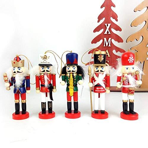 Greatideal 5PCS Nussknacker-Ornament-Set, handgemalte Nussknacker-Figuren aus Holz Hängende Ornamente Weihnachtsbaumanhänger Dekoration für Weihnachtskinder Freunde (12 cm)