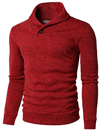 H2H Mens Knited Slim Fit Pullover Sweater Shawl Collar with One Button Point RED US M/Asia L (KMOSWL036)