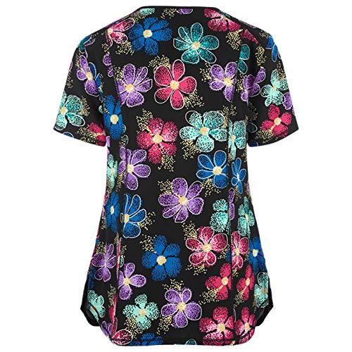 Camisa de manga corta para mujer, uniforme de trabajo con cuello en V de manga corta para mujer, color liso, para San Patricio de Pascua (Multicolor-XXL)