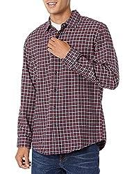[Amazon Essentials] レギュラーフィット 長袖 フランネルシャツ メンズ レッド/ネイビーチェック M