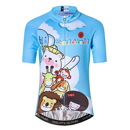 Maillot de ciclismo de manga corta para niños y niñas para jóvenes, color Dibujos animados., tamaño XXL(Height 140-149cm)