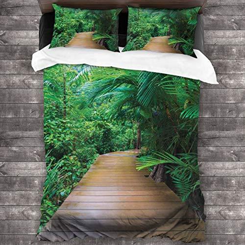 LISUMAL Funda De Edredón,Tropic Timber Jetty Wild Exotic Print,3 Pcs Ropa de Cama Funda Nórdica Sábana Bajera (140 * 200CM)