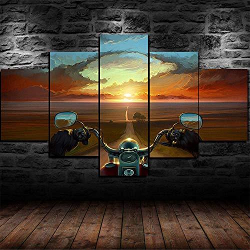 AWER 5 Piezas Modernos Mural Fotos Cuadro Mann Biker Rider para Salon,Dormitorio,Baño,Comedor Dibujo con Marco Fotografía para Oficina Aniversario