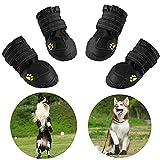 AQH Zapatos Perro, 4 Pcs Zapatos Impermeables para Perros, con Banda Reflectante Suelas de Goma Antideslizantes Resistentes (5#, Negro)