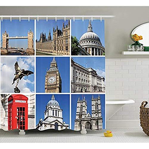 Yeuss Home Decor Collection,Collage du célèbre Monument Historique de la Ville Londres,bâtiment avec Architecture Britannique,Photo,icônes,Rideau Douche en Tissu Polyester Crochet,Bleu Gris 60'x72'