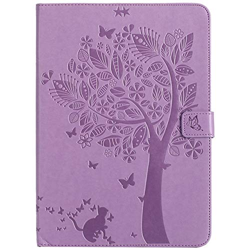 QiuKui Tab Cover For iPad 9.7, Cat Tree Pattern Stand Case Tablet Shell +Film+Pen For iPad 9.7 2017 2018 5th 6th Generation A1822 A1954 (Color : Light purple)