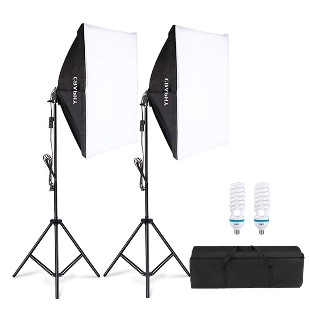 CRAPHY Upgraded 20x28 Photography Lighting Kit Auto Pop-Up Softbox Light Kits 800W 5500K Photography Softbox Light Set Softboxes Continuous Lighting for Photo Studio Portrait Video Shooting