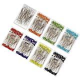 Alfileres de Costura (800 Piezas) - Colores Variados Cabeza de Vidrio Alfileres de Corte y Confección 3.5 cm Largo - Pernos de cabeza de vidrio para Acolchado y De Coser con Caja de Almacenamiento