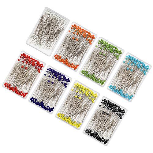HANDI STITCH Spilli da Sarta (800 Pezzi)- Spilli con Testa Vetro Multicolore (3.5 cm)-Spilli Quilting per Decorazione, Sartoria, Creazione Gioielli