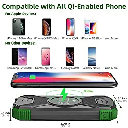 Solar Charger Portable Power Bank Qi Wireless Solar Panel Charging...