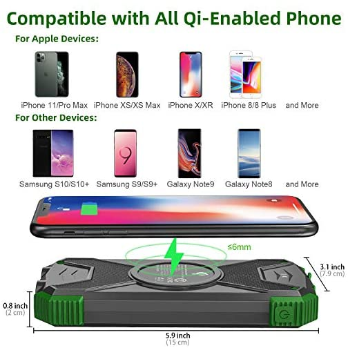 Solar Charger, 10000mAh Solar Power Bank, Qi Wireless Charger, Portable Charger for iPhone, External Battery Pack, Dual… 3