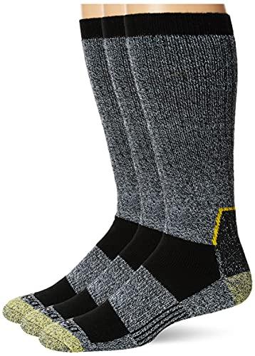 Dickies Men's Kevlar Reinforced Steel Toe Crew Socks, Black (2 Pairs), Shoe Size: 6-12