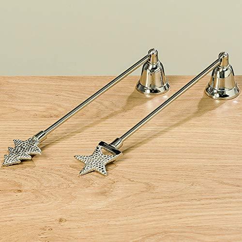 KUHEIGA Dochtlöscher Tanne/Stern in Silber aus Aluminium Länge: 27cm Kerzenlöscher